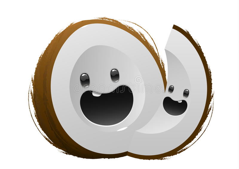 Personaggio dei cartoni animati marrone felice della frutta della noce di cocco illustrazione di stock