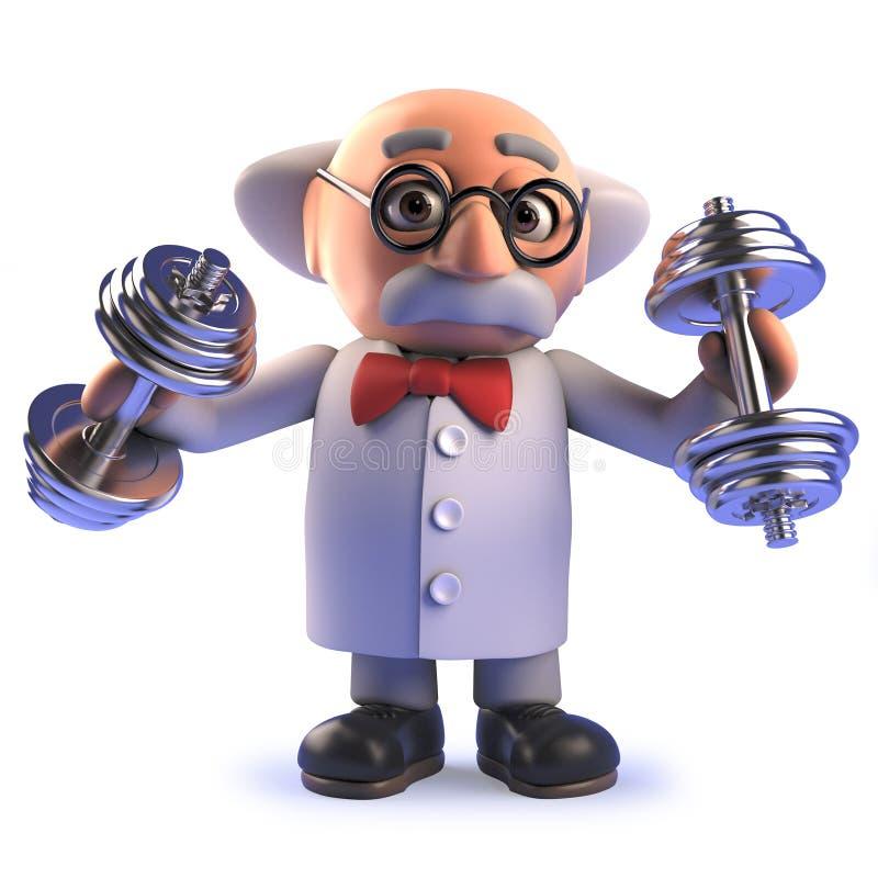 Personaggio dei cartoni animati pazzo pazzo dello scienziato in 3d che si esercita con i dumbells illustrazione di stock