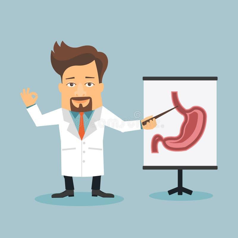 Personaggio dei cartoni animati piano di gastroenterite amichevole di medico illustrazione vettoriale