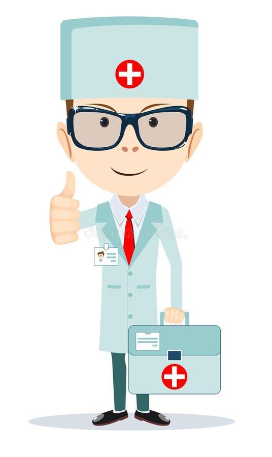 Personaggio dei cartoni animati piano di medico amichevole royalty illustrazione gratis