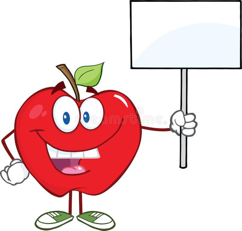 Personaggio dei cartoni animati rosso di Apple che ostacola un segno in bianco illustrazione vettoriale