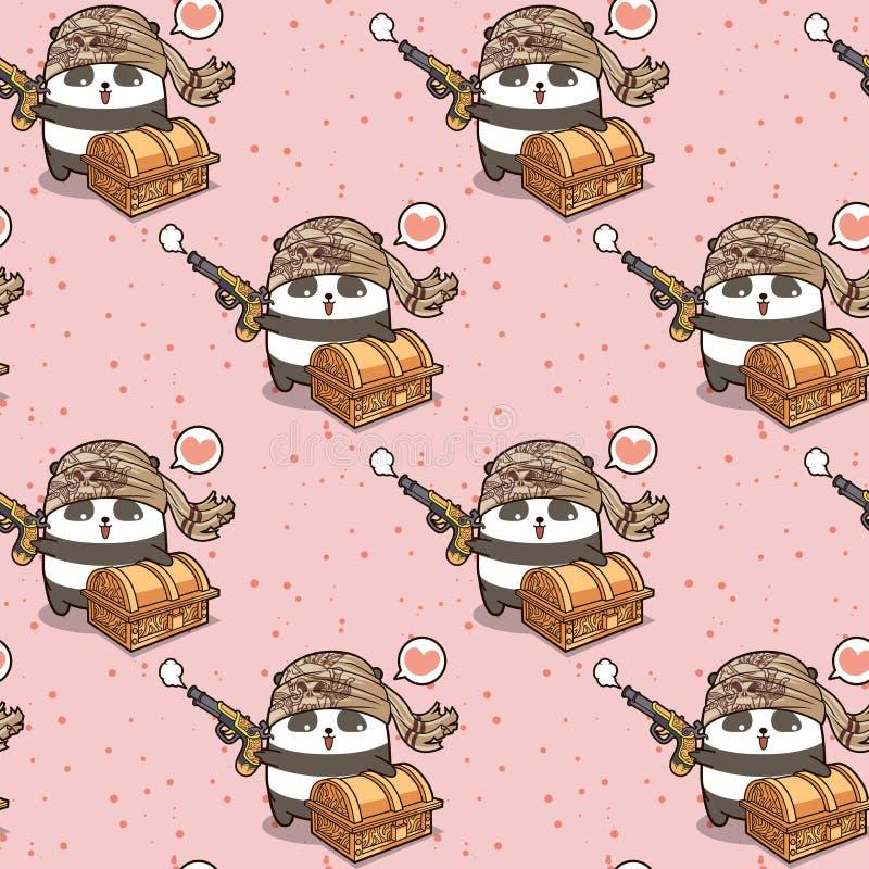 Personaggio dei cartoni animati senza cuciture del panda del pirata di kawaii con un modello del petto royalty illustrazione gratis