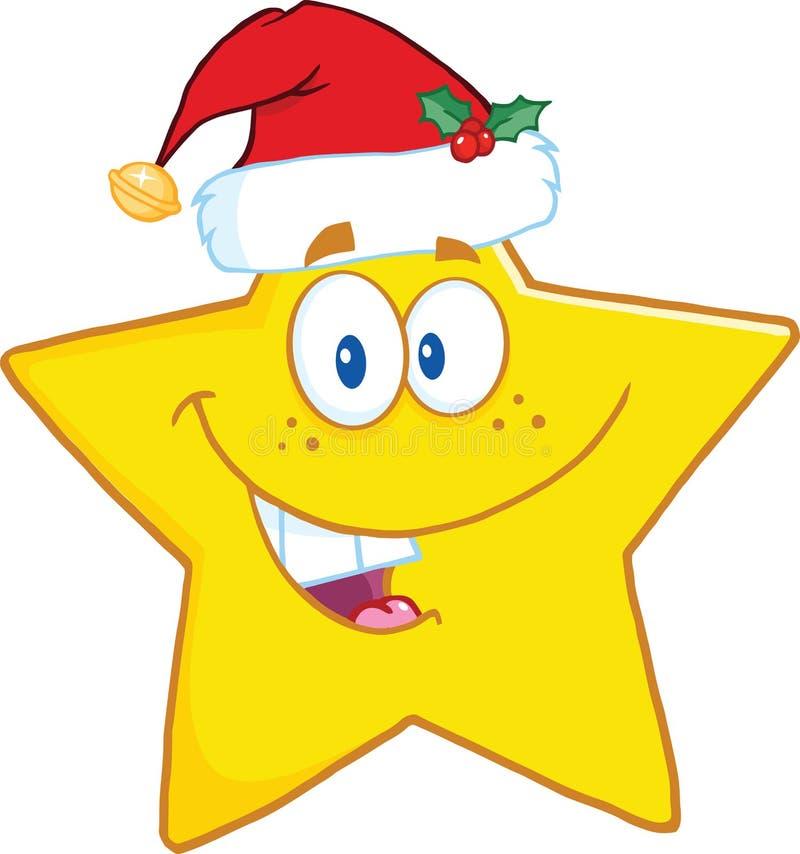 Personaggio dei cartoni animati sorridente della stella con Santa Hat illustrazione vettoriale