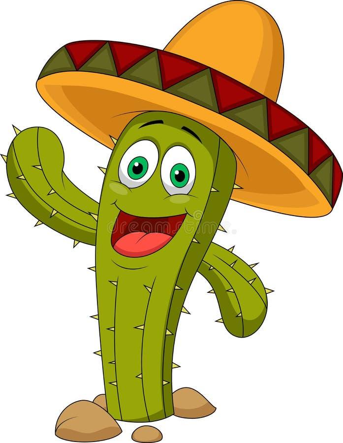 Personaggio dei cartoni animati sveglio del cactus illustrazione vettoriale