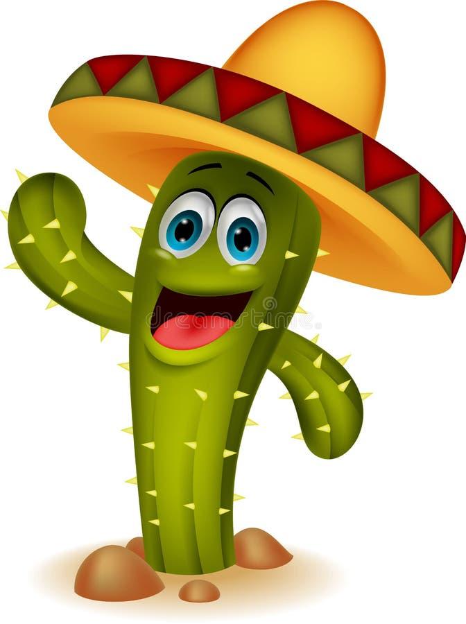 Personaggio dei cartoni animati sveglio del cactus illustrazione di stock