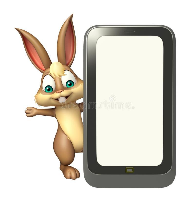 Personaggio dei cartoni animati sveglio del coniglietto con il cellulare illustrazione di stock