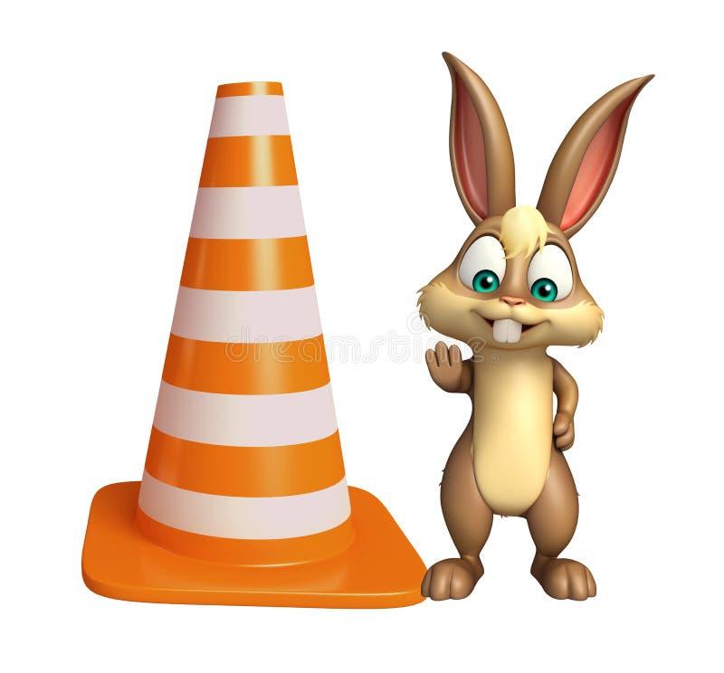 Personaggio dei cartoni animati sveglio del coniglietto con il cono della costruzione royalty illustrazione gratis