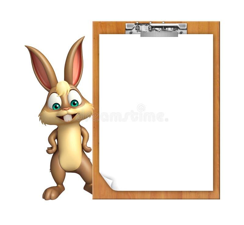Personaggio dei cartoni animati sveglio del coniglietto con il cuscinetto dell'esame illustrazione di stock