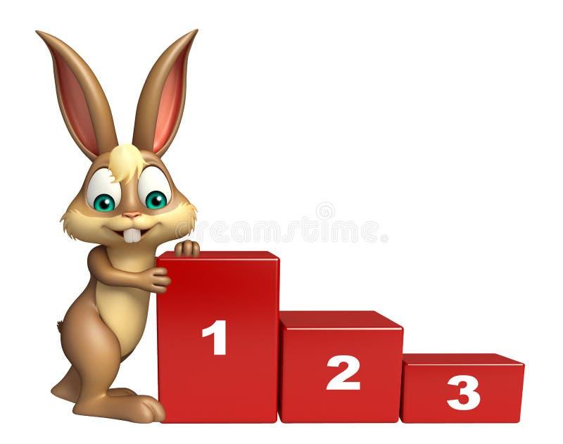 Personaggio dei cartoni animati sveglio del coniglietto con il segno livellato illustrazione di stock