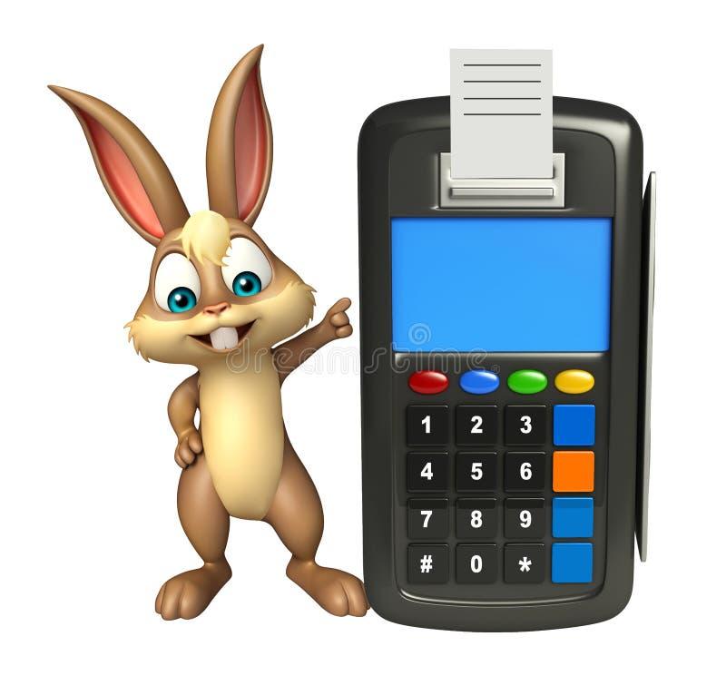 Personaggio dei cartoni animati sveglio del coniglietto con la macchina di scambio illustrazione vettoriale