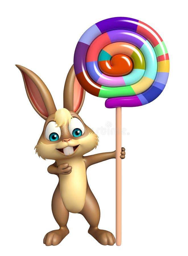 Personaggio dei cartoni animati sveglio del coniglietto con lollypop illustrazione di stock