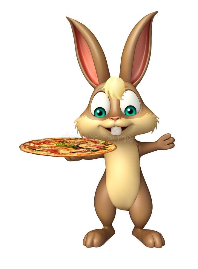 Personaggio dei cartoni animati sveglio del coniglietto con pizza illustrazione di stock