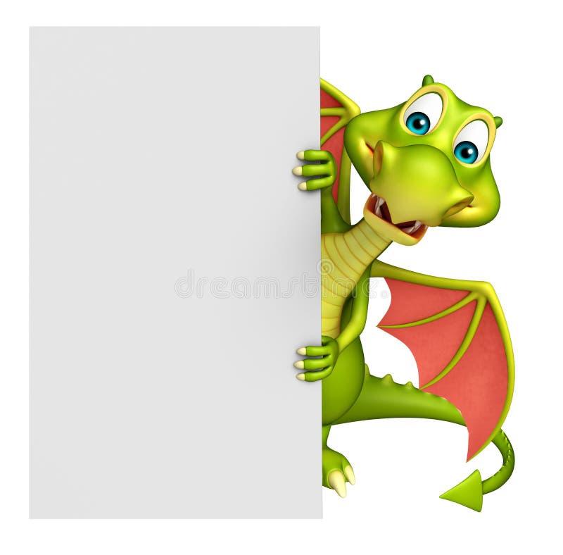 Personaggio dei cartoni animati sveglio del drago con il bordo bianco illustrazione vettoriale