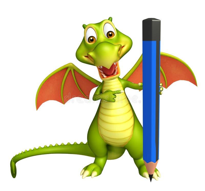 Personaggio dei cartoni animati sveglio del drago con la matita illustrazione di stock