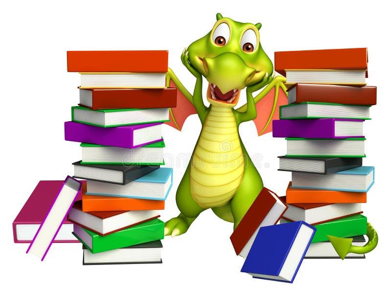 Personaggio dei cartoni animati sveglio del drago con la pila di libro illustrazione di stock
