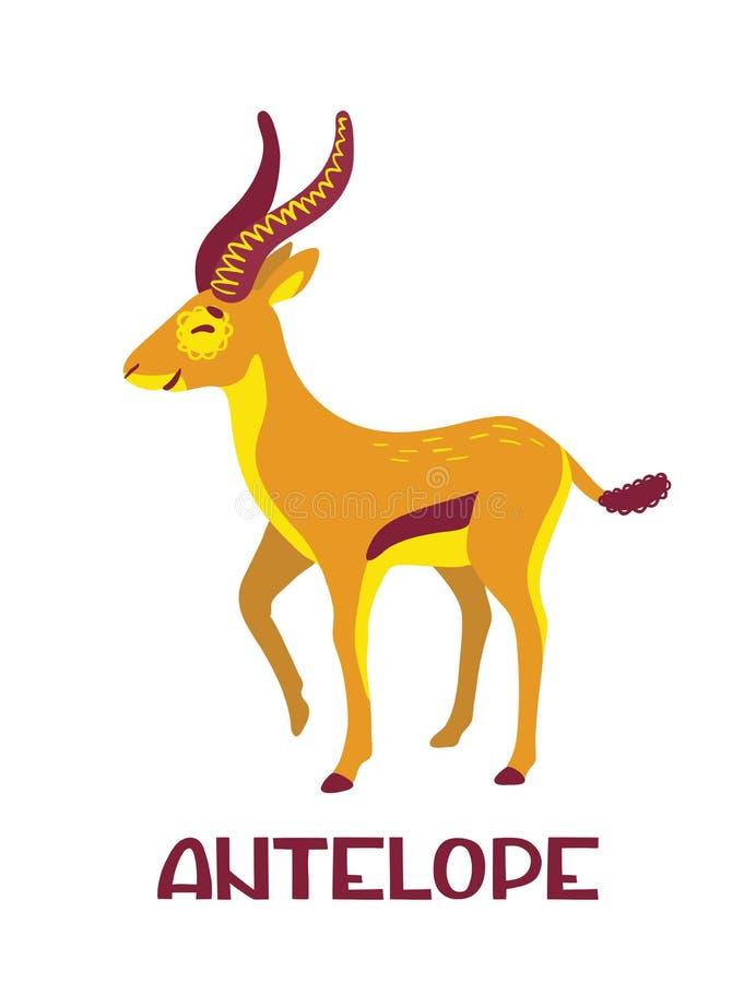 Personaggio dei cartoni animati sveglio dell'antilope con iscrizione Ruota dentata illustrazione di stock