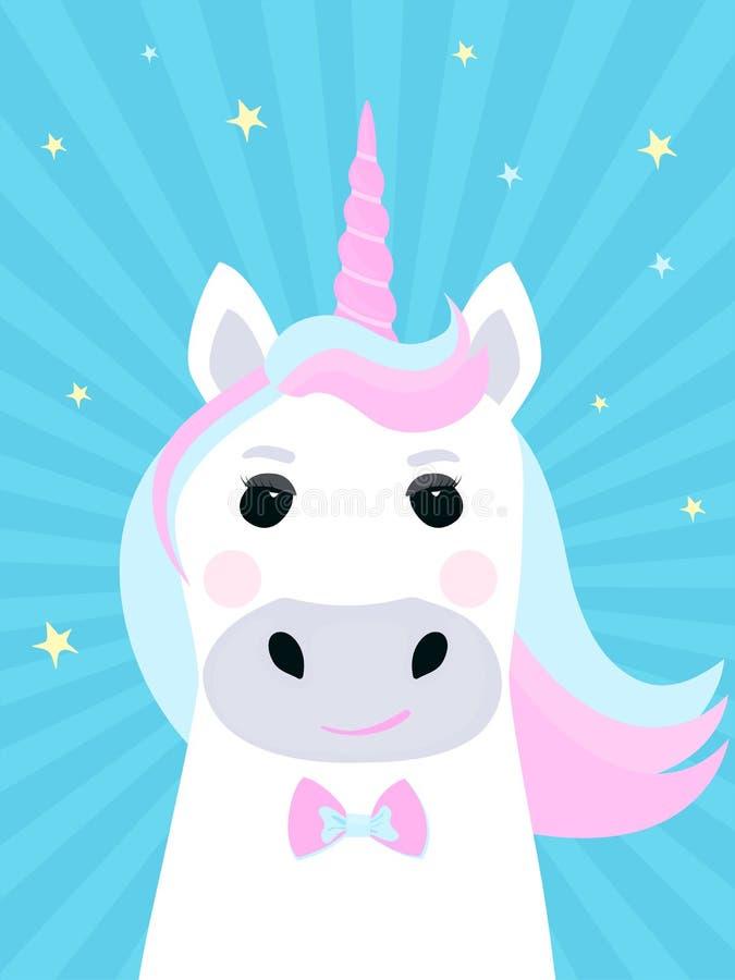 Personaggio dei cartoni animati sveglio dell'unicorno Eroe fantastico divertente fairytale illustrazione di stock