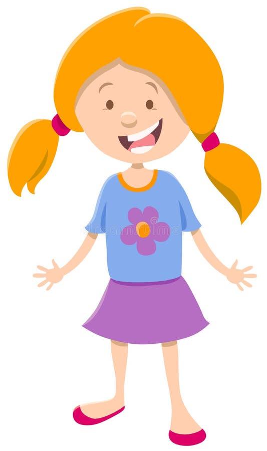 Personaggio dei cartoni animati sveglio della bambina