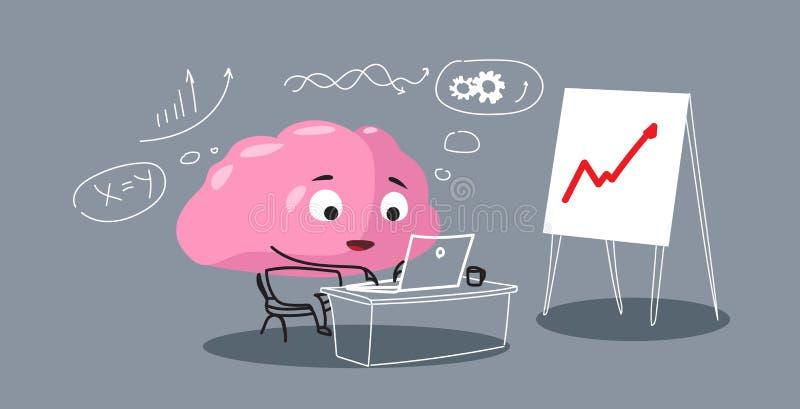 Personaggio dei cartoni animati sveglio di rosa dell'organo del cervello umano che analizza grafico finanziario sul grafico di vi illustrazione di stock