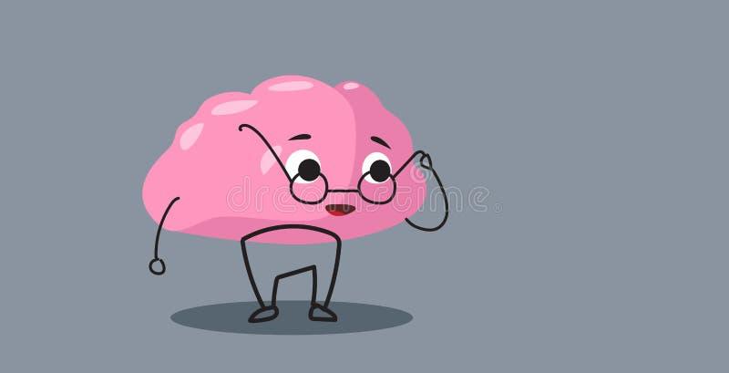 Personaggio dei cartoni animati sveglio di rosa dell'organo del cervello umano in orizzontale rotondo di stile di kawaii di conce royalty illustrazione gratis
