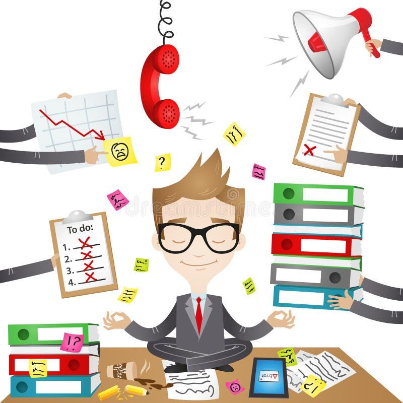 Personaggio dei cartoni animati: Uomo d'affari calmo illustrazione di stock