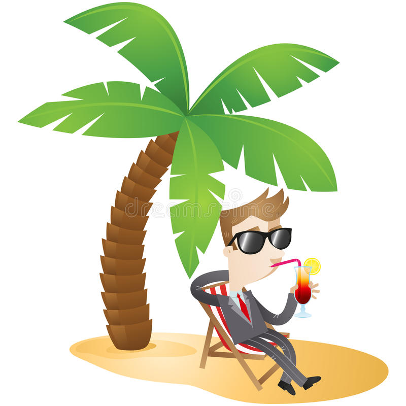 Personaggio dei cartoni animati: Uomo d'affari che si rilassa sul bea royalty illustrazione gratis