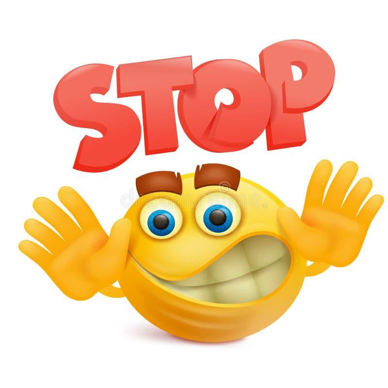 Personaje de dibujos animados amarillo del emoji de la cara de la sonrisa con gesto de la parada stock de ilustración