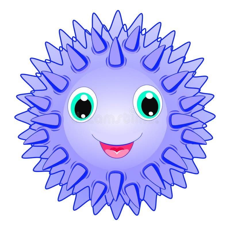 Personaje de dibujos animados animal de punta sonriente del vector lindo del erizo de mar aislado en el animal blanco del océano  libre illustration