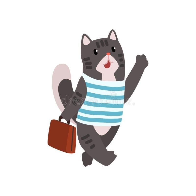 Personaje de dibujos animados animal del gato lindo que viaja con el ejemplo del vector de la maleta en un fondo blanco ilustración del vector