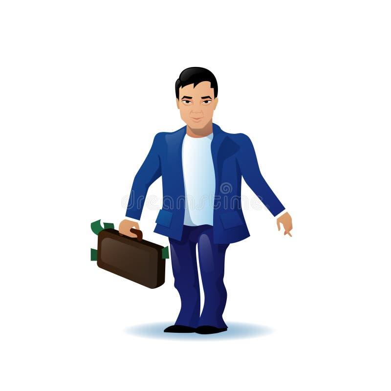 Personaje de dibujos animados asiático del hombre de negocios funcionado con sosteniendo la cartera aislada sobre el fondo blanco ilustración del vector