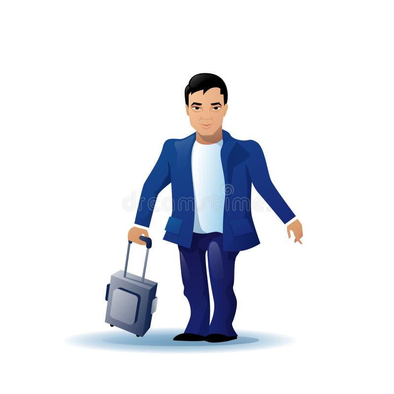 Personaje de dibujos animados asiático del hombre de negocios funcionado con sosteniendo la maleta del equipaje aislada sobre el  ilustración del vector