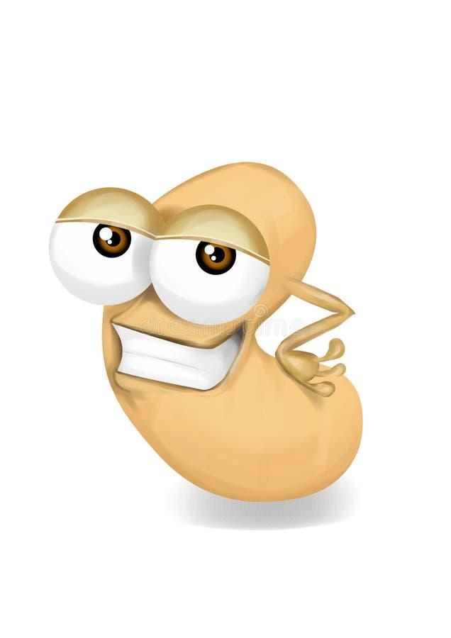 Personaje de dibujos animados beige fresco del anacardo, ojos astutos stock de ilustración