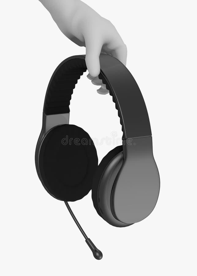 Personaje de dibujos animados con los auriculares con el mic a disposición ilustración del vector
