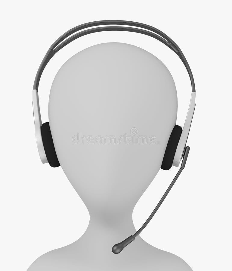 Personaje de dibujos animados con los auriculares con el mic en la pista ilustración del vector