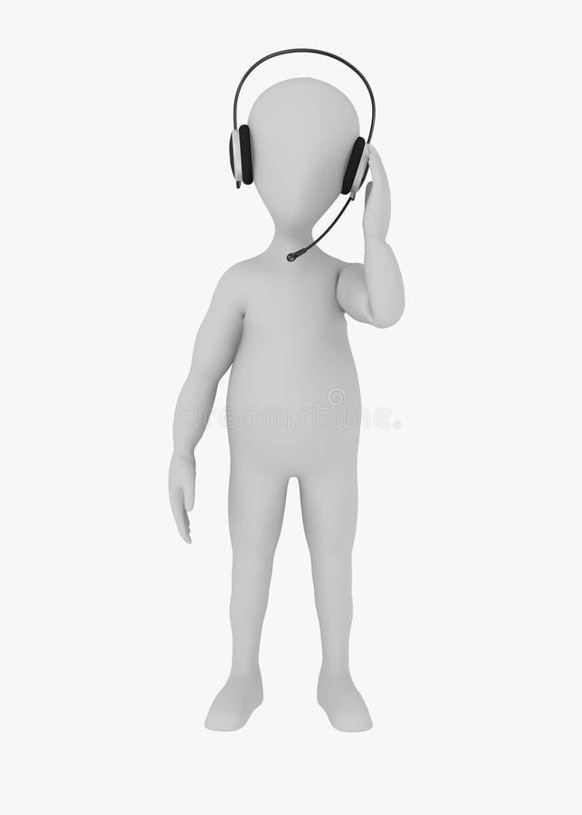 Personaje de dibujos animados con los auriculares - el operador habla stock de ilustración