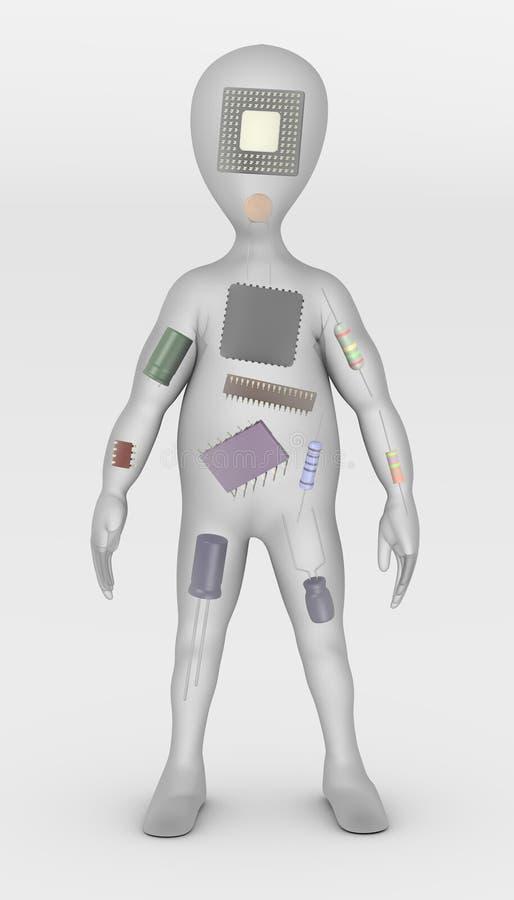 Personaje de dibujos animados con los componentes electrónicos adentro stock de ilustración