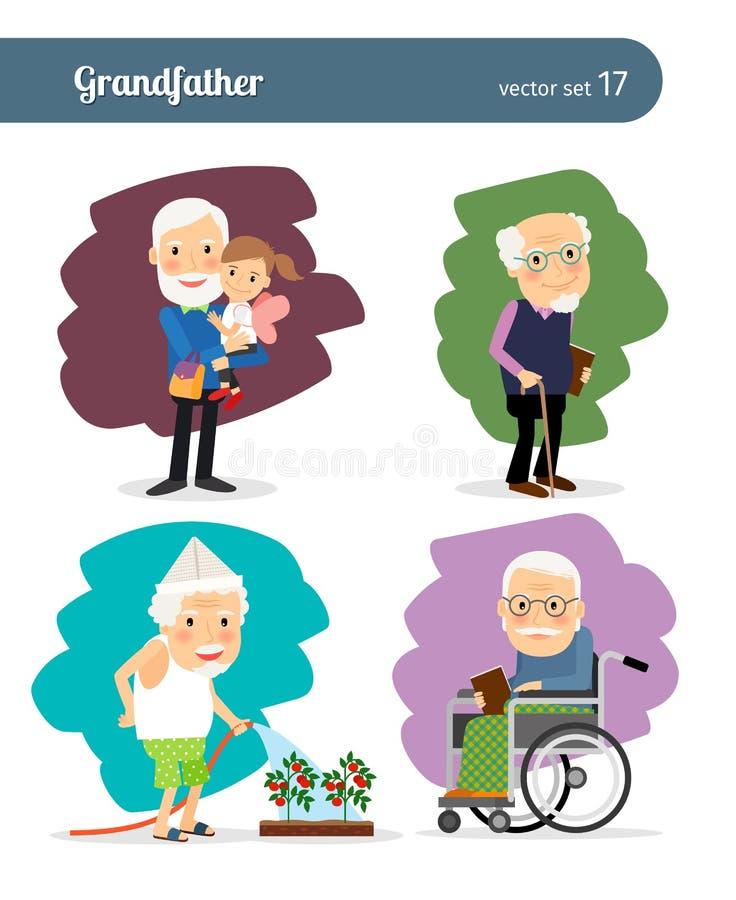 Personaje de dibujos animados de abuelo stock de ilustración
