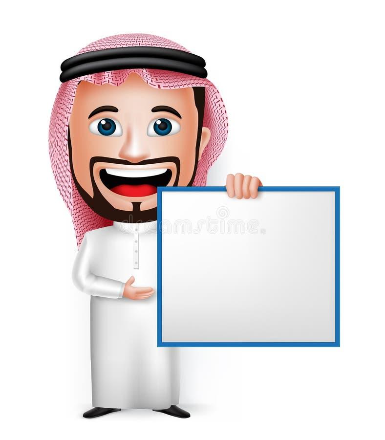 personaje de dibujos animados de Arabia Saudita realista del hombre 3D que lleva a cabo al tablero blanco en blanco libre illustration