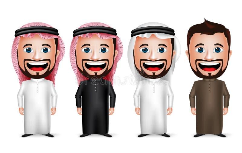 personaje de dibujos animados de Arabia Saudita realista del hombre 3D que lleva diverso Thobe tradicional stock de ilustración