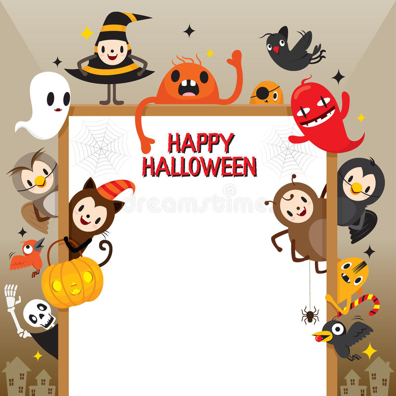 Personaje De Dibujos Animados De Halloween En Marco Ilustración del ...