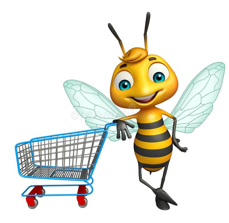 Personaje de dibujos animados de la abeja con la carretilla ilustración del vector