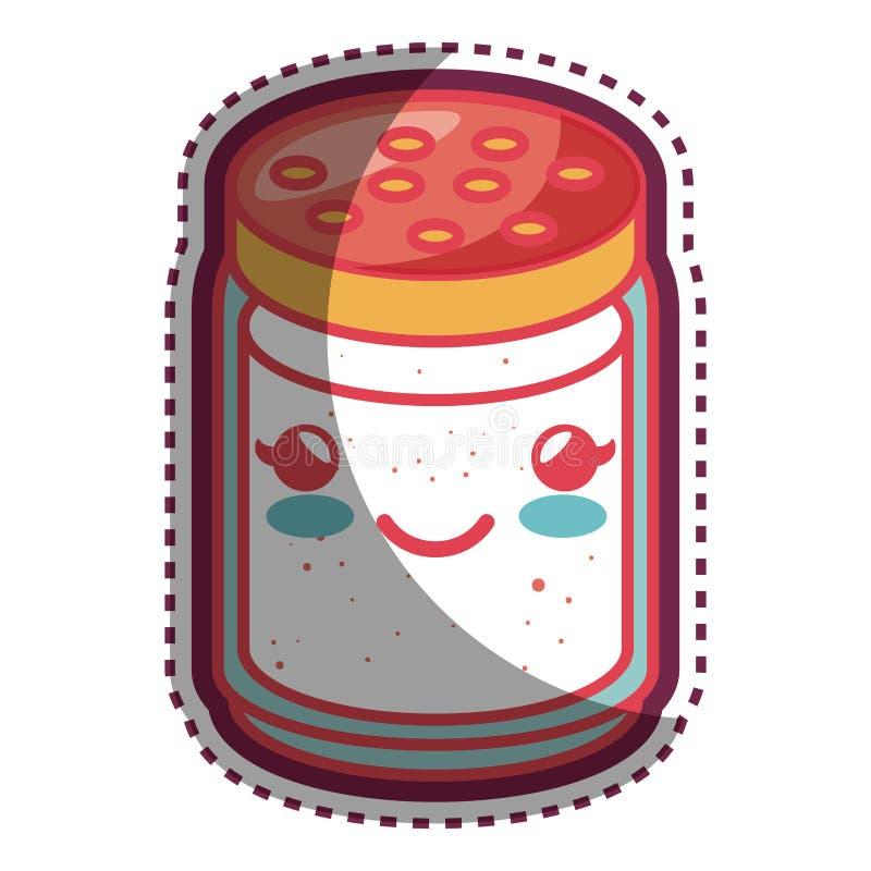 Personaje de dibujos animados de la comida del embalaje del ingrediente stock de ilustración