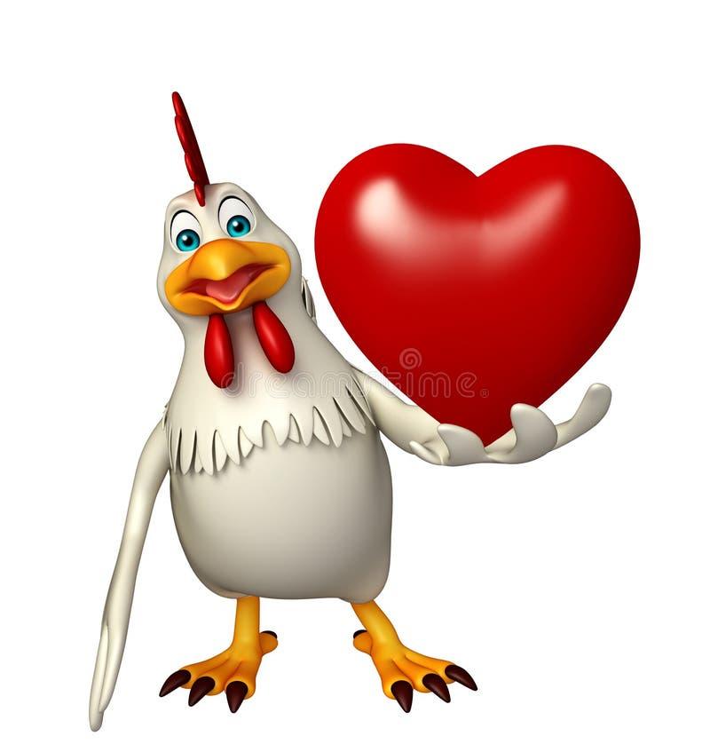 Personaje de dibujos animados la gallina con el corazón