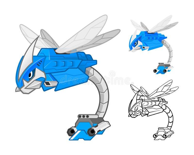 Personaje de dibujos animados de la libélula del robot libre illustration