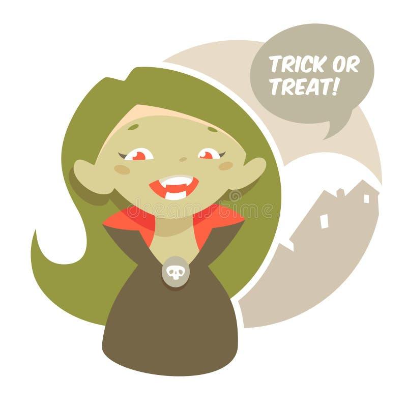 Personaje de dibujos animados de la muchacha del vampiro de Halloween libre illustration