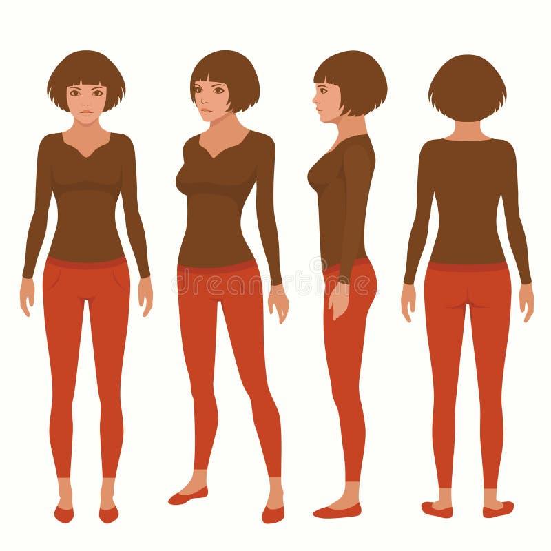 Personaje De Dibujos Animados De La Mujer Ilustración del Vector ...
