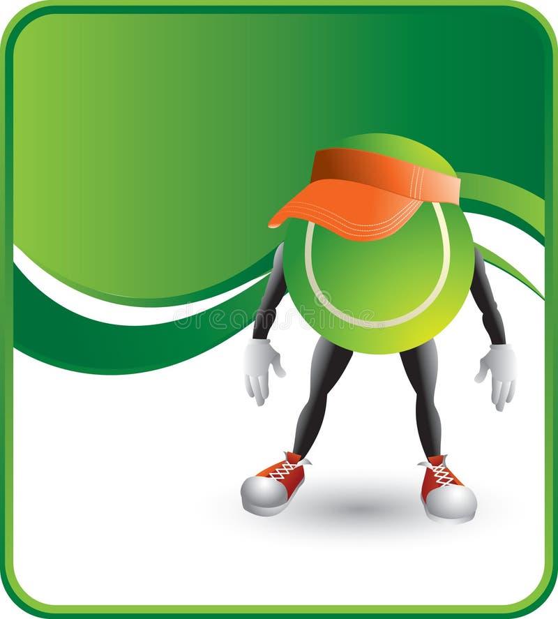 Personaje de dibujos animados de la pelota de tenis que lleva un visera ilustración del vector