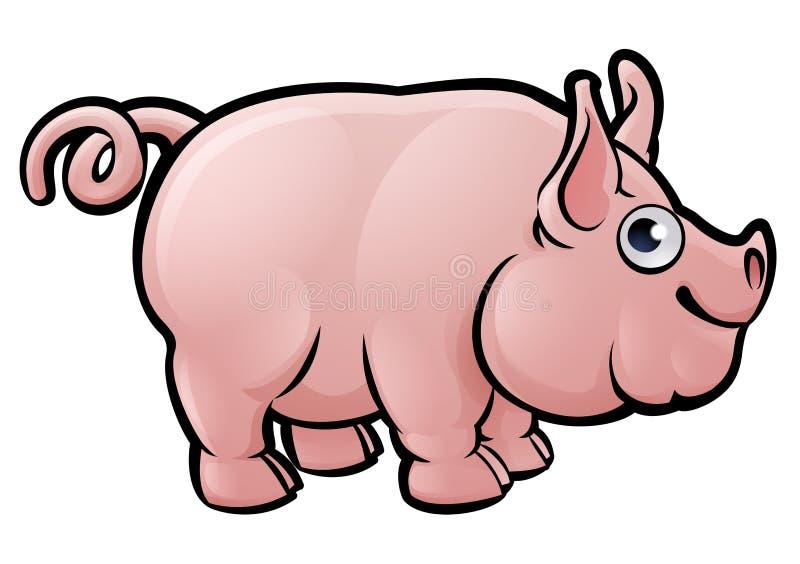 Personaje de dibujos animados de los animales del campo de cerdo ilustración del vector