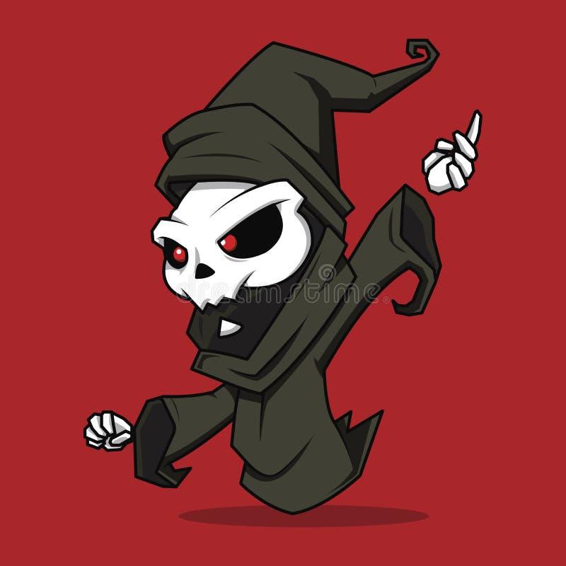 Personaje de dibujos animados de los magos del fantasma en un fondo rojo VE libre illustration