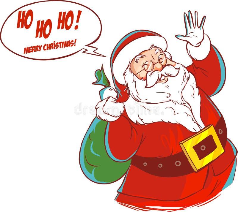 Personaje de dibujos animados de Papá Noel stock de ilustración